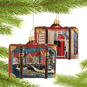 Personalized Denmark Travel Suitcase Christmas Ornament