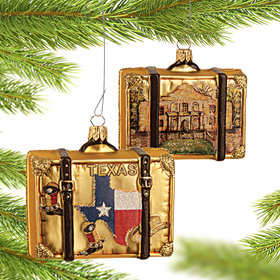 Personalized Texas Travel Suitcase Christmas Ornament