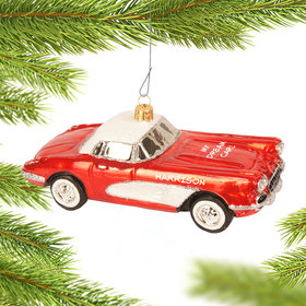 Personalized Red Corvette Christmas Ornament