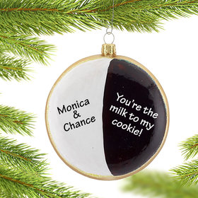 Personalized Black & White Cookie Christmas Ornament