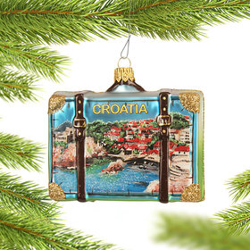 Personalized Croatia Travel Suitcase Christmas Ornament