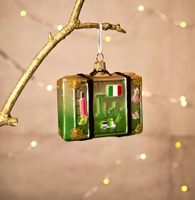 Personalized Italy Map Suitcase Christmas Ornament