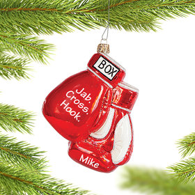 Personalized Pair of Boxing Gloves Christmas Ornament