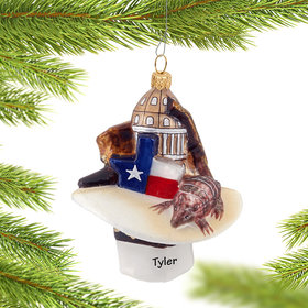 Personalized Texas Hat Christmas Ornament