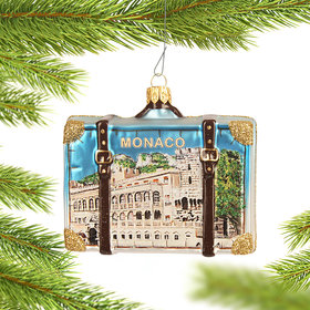 Personalized Monaco Travel Suitcase Christmas Ornament