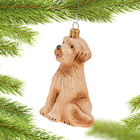 Glass Goldendoodle Christmas Ornament