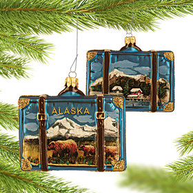 Personalized Alaska Travel Suitcase Christmas Ornament