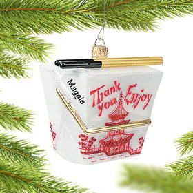 Personalized Chinese Take Out Box Christmas Ornament
