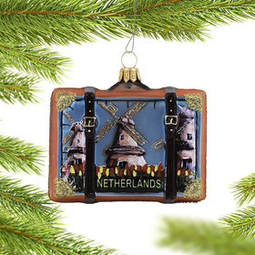 Personalized Netherlands Suitcase Christmas Ornament
