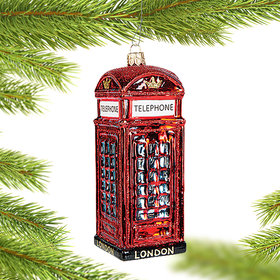 Personalized Telephone Booth Christmas Ornament