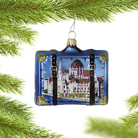 Personalized Budapest Suitcase Christmas Ornament