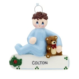 Personalized Toddler Boy with Teddy Bear Christmas Ornament