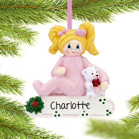 Personalized Toddler Girl with Teddy Bear Christmas Ornament