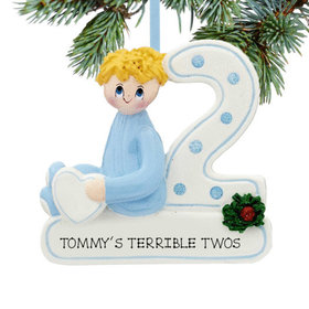 Personalized Second Christmas Boy Christmas Ornament