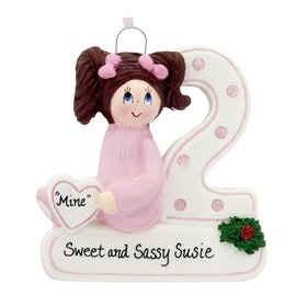 Personalized Second Christmas Girl Christmas Ornament