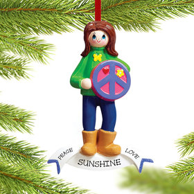 Personalized Peace Girl Christmas Ornament