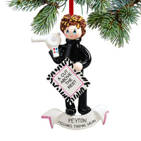 Personalized Hair Stylist with Hair Dryer Christmas Ornament