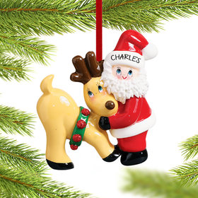 Personalized Santa and Reindeer Christmas Ornament