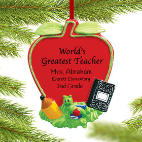 Personalized World's Greatest Teacher Apple Christmas Ornament