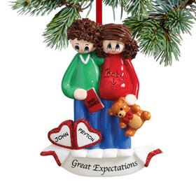 Personalized Great Expectations Pregnant Couple Christmas Ornament