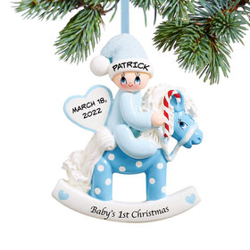 Personalized Baby's 1st Christmas Rocking Horse Blue Christmas Ornament