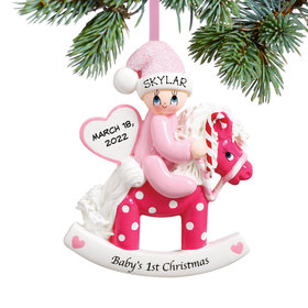 Personalized Baby's 1st Christmas Rocking Horse Pink Christmas Ornament