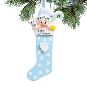 Personalized Baby's 1st Christmas Stocking Blue Christmas Ornament