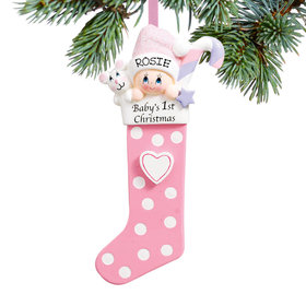Personalized Baby's First Christmas Stocking Pink Christmas Ornament