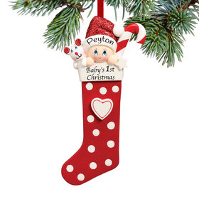 Personalized Baby's 1st Christmas Stocking Red Christmas Ornament