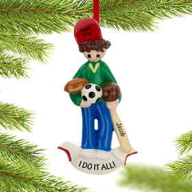 Personalized Sports Super Star Christmas Ornament