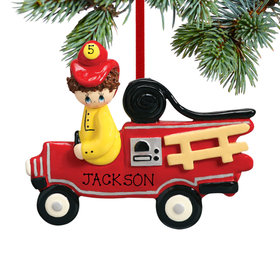 Personalized Fireman in Firetruck Christmas Ornament