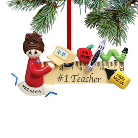 Personalized Teacher with Computer on Ruler Christmas Ornament