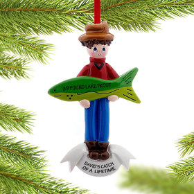 Personalized Fishing for a Big Catch Christmas Ornament
