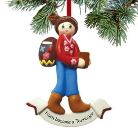 Personalized Backpack Girl Christmas Ornament