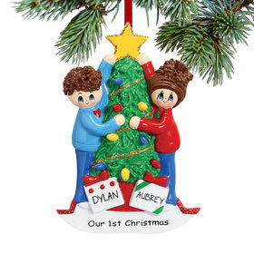 Personalized Christmas Tree Decorating Couple Christmas Ornament