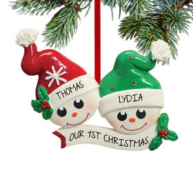 Personalized Two Happy Snowman Faces Christmas Ornament