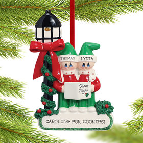 Personalized Silent Night Caroling Couple Christmas Ornament