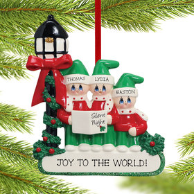 Personalized Silent Night Caroling Family of 3 Christmas Ornament