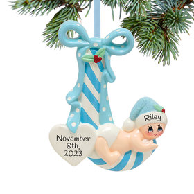 Personalized New Baby Striped Candy Cane (Blue) Christmas Ornament