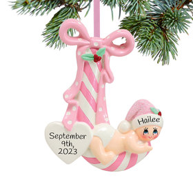 Personalized New Baby Striped Candy Cane (Pink) Christmas Ornament