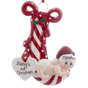 Personalized New Baby Striped Candy Cane (Red) Christmas Ornament
