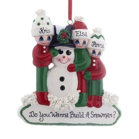 Personalized Making a Snowman Family of 3 Christmas Ornament