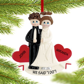 Personalized Wedding Day Bride and Groom Christmas Ornament