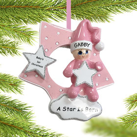 Personalized A Star is Born Girl Christmas Ornament