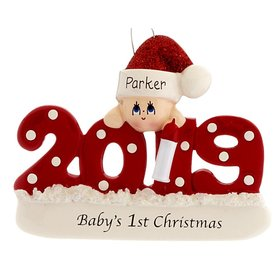 Personalized 2019 Baby's First Christmas (Red) Christmas Ornament