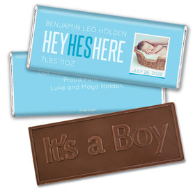 Personalized He's Here! Baby Boy Birth Announcement Party Hershey's Chocolate Bar & Wrapper