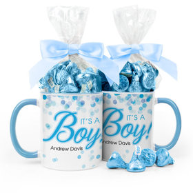 Personalized Baby Boy Announcement Bubbles 11oz Mug with Hershey's Kisses