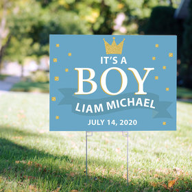Personalized It's a Boy Yard Sign - Birth Announcement Crown