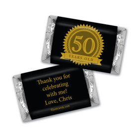 50th Birthday Personalized Hershey's Miniatures Age Seal
