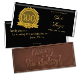 Milestones Personalized Embossed Chocolate Bar Candy 100th Birthday Favors